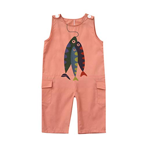 Bequeme Passform Pyjama (JKLEUTRW Overalls Baby Mädchen Kinder Jungen Jumpsuit mit Fischmuster Armellänge Breathable Passform T Shirt Beach Keep Up Pyjama Niedlich Outdoorhose Trendy Slim Fit Sportshirt)