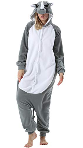 Damen Herren Jumpsuit Onesie Tier Fasching Halloween Kostüm Lounge Sleepsuit Cosplay Overall Pyjama Schlafanzug Erwachsene Unisex Grau Nashorn for Höhe 140-187CM (Für Erwachsene Nashorn Kostüm)