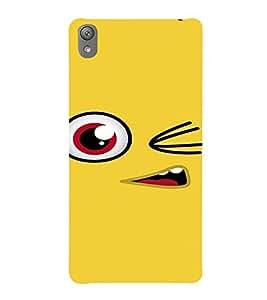 PrintVisa Cute Cartoon yellow Smiley 3D Hard Polycarbonate Designer Back Case Cover for Sony Xperia E5