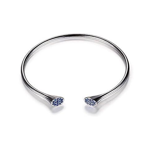 ujewelry imitation saphir bleu Bracelet Bracelets en Argent Sterling 925