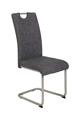 deine-tante-emma 920349 ALMA Vintage grau Schwingstuhl Küchenstuhl Esszimmerstuhl Sessel Gestell Edestahloptik gebürstet