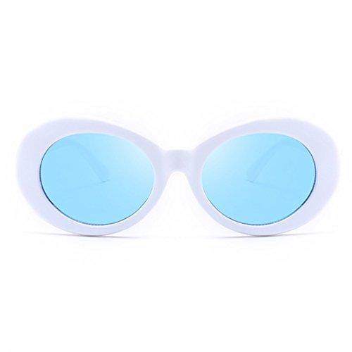 Armear Damen Vintage Oval Sonnenbrillen Kurt Cobain Pop Hippie-Sonnenbrille überdimensional Weiß, blau-Objektiv