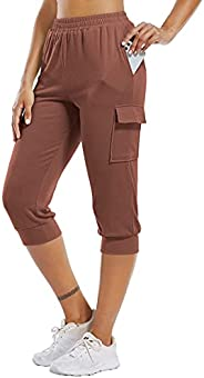 CHICHO Jogger Sweatpants for Women Running Cropped Capri Pants Elastic Waist Lounge Hiking with 3 Pockets