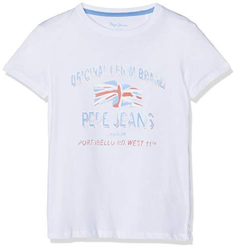 Pepe Jeans Jungen Jayson T-Shirt, Weiß (Optic White 802), 13-14 Jahre (Herstellergröße: 14)
