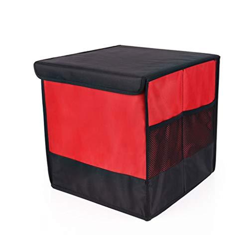 FOKIT Organizador Maletero Coche Pequeño, Plegable Impermeable con 2 Compartimientos Grandes y 3 Bolsillos Laterales para Coche, Todoterreno, Camioneta, Monovolumen,Red