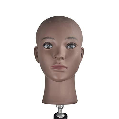 Lurrose Glatze Schaufensterpuppe Kopf Perückenherstellung und Display Kopf Übungskopf für Haarstyling Praxis (Schwarz)