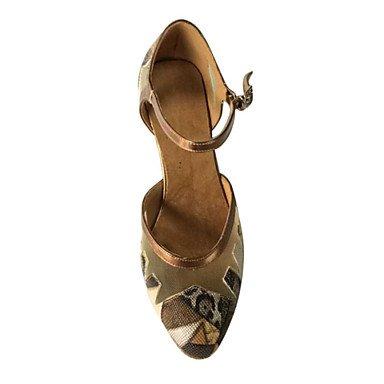 Scarpe da ballo-Non personalizzabile-Da donna-Balli latino-americani / Moderno / Samba-A stiletto-Finta pelle-Marrone Tan
