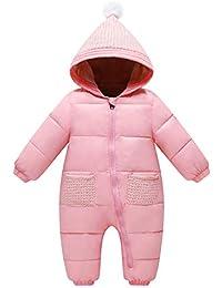 Bebé Mono Mameluco de Invierno Traje de Nieve Espesar peleles con capucha