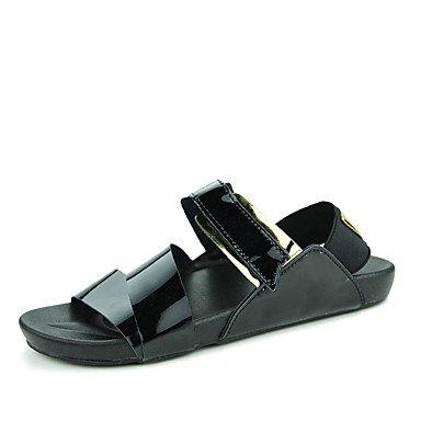 Herren Sandalen Sommer PU Casual flachem Absatz Schnalle Schwarz Silber Gold Wasser Schuhe Black