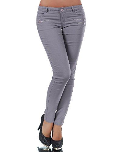 Leder Bootcut Jeans (L958 Damen Hose Treggings Leggings Stoffhose Freitzeithose Röhrenhose Leggins , Farben:Steingrau;Größen:34 (XS))