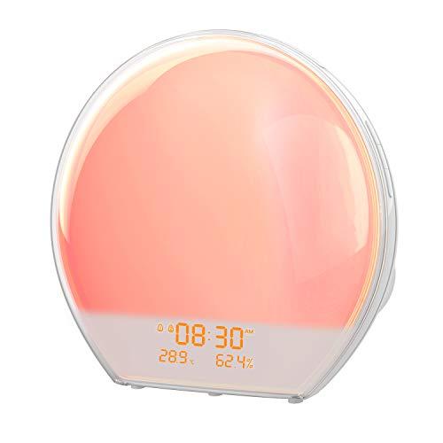AngLink Wake up light, Sveglia Luce con interfaccia di ricarica USB, radio FM, Termometro Igrometro Digitale, luce notturna in luce diurna, luce di atmosfera multicolore (regalo perfetto)