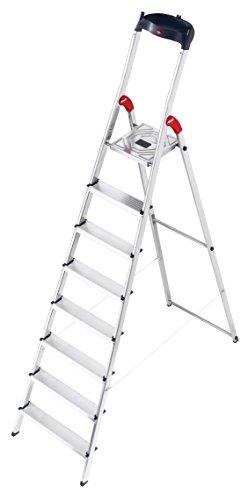 Hailo L60 StandardLine Alu-Sicherheits-Stehleiter, 8 Stufen, Ablageschale, belastbar bis 150 kg, silber, made in Germany, 8160-807 - 1 Raum Schwarz Stahl