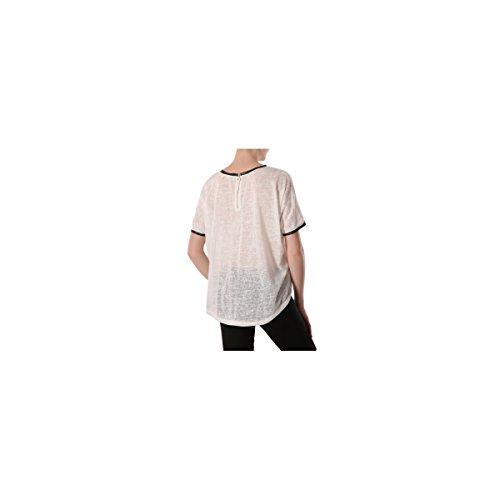 La Modeuse - T-shirt large effet lin avec liseréen simili cuiraux manches et sur col Blanc