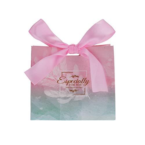 Flowow 50x11.5*4.5*10cm rosa blu cambiamento graduale piccolo marsupio pacchetto tasche sacchetto regalo carta confezione cookie motivi fiori scatola portaconfetti bomboniere per giorno nozze nascita