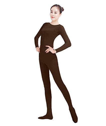 Mann Junge Weiser Kostüm (NiSeng Erwachsener und Kind Ganzkörperanzug Kostüm Lange Ärmel Bodysuit Kostüm Zentai Offene Bodysuit Kostüm DunkelBraun)