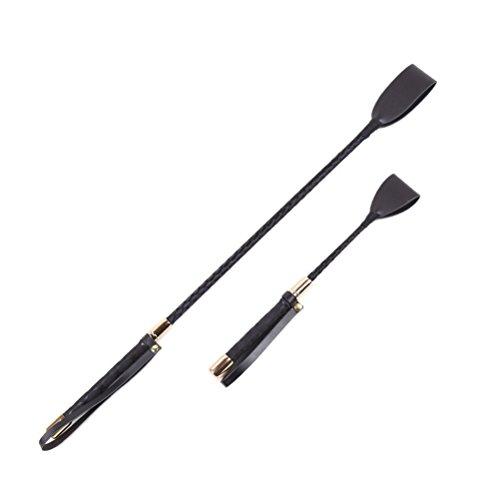 LUOEM Reitgerte Whip Jump Bat für Paare Schwarz Leder Pferd Whip Tipp Sex Spielzeug 2 STÜCKE (lange und Kurze Stil)