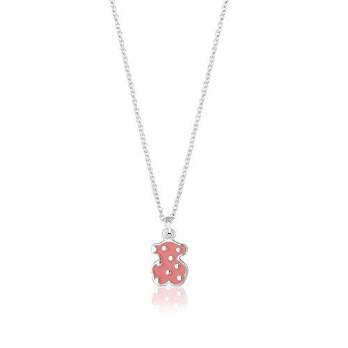 TOUS Collar Face de plata de primera ley con oso con topos de esmalte rosa - Tamaño motifo: 1,3 cm