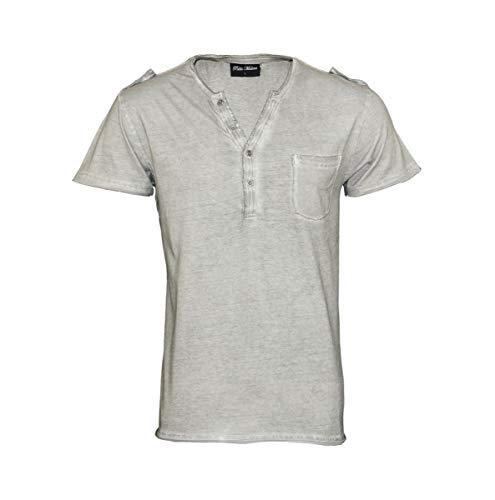 Pablo Malone T-Shirt Henley Knopfleiste JH1701091 lightgrey by Poolman Größe XXL