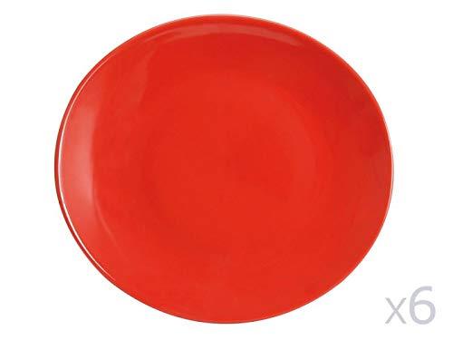Novastyl Assiette à Steak en faïence Rouge (Lot de 6) Ibiza