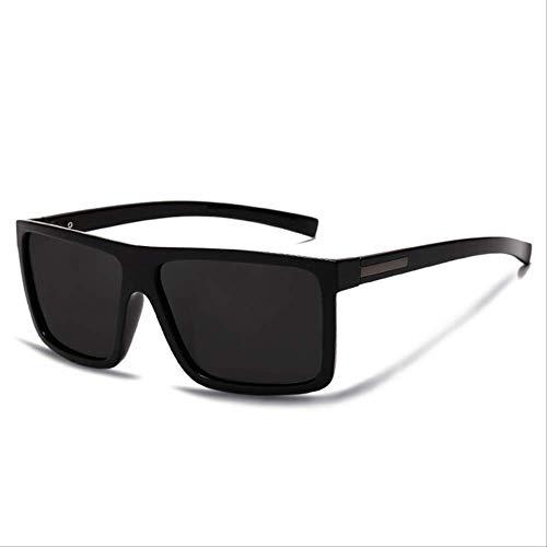 LMDZSW Männer Sonnenbrille polarisierte Flat Top Sonnenbrille Marke Designer Fahren Sonnenbrillen männlich Qualitäts -Rechteck -ArtHelle schwarz