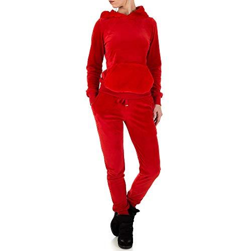 Ital-Design Kapuzen Zweiteiler Freizeit Anzug Für Damen, Rot In Gr. L