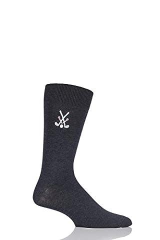 Hommes 1 Paire SockShop brodés Sport Motif Coton Modal Chaussettes Golf Charcoal 7-11 Mens