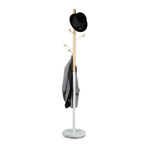 Relaxdays Garderobenständer, freistehend, 6 Haken, Kleiderständer für den Flur, Holz und Metall, HD 180x34 cm, weiß
