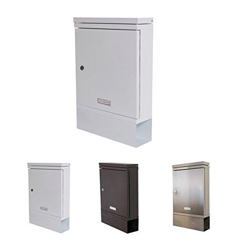 H&D Youngsun Briefkasten mit Zeitungsbox 342 x 102 x 520 mm verzinkter Stahl Postkasten Stahlbriefkasten Wand-Briefkasten (Weiß) -