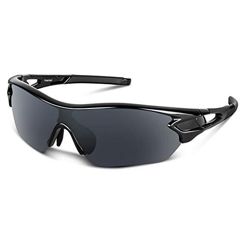 Gafas de sol polarizadas deportivas para hombres, mujeres, jóvenes, béisbol, ciclismo, correr, conducir, pescar, golf, motocicleta, tac, gafas (Negro brillante)