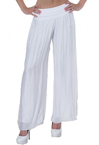 CASPAR KHS010 Damen elegante lange Seiden Chiffon Marlene Hose / Hosenrock mit hohem Stretch Bund, Farbe:weiss