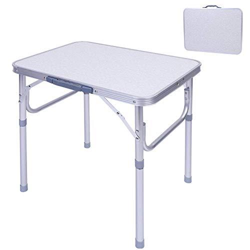 Ejoyous tavolo pieghevole, tavolino da in alluminio altezza regolabile pieghevole formato valigia grigio chiaro