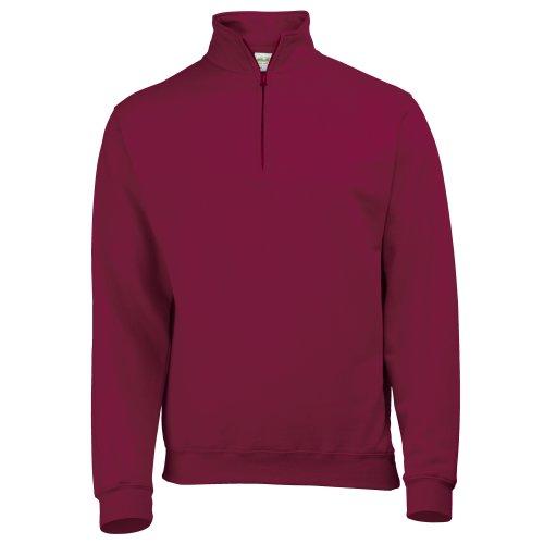 Awdis Herren Sweatshirt / Pullover mit Reißverschluss am Kragen (2XLarge) (Weinrot) -