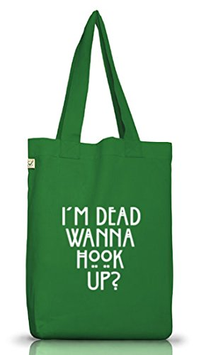Shirtstreet24, AHS - Wanna Hook Up? Jutebeutel Stoff Tasche Earth Positive (ONE SIZE) Moss Green