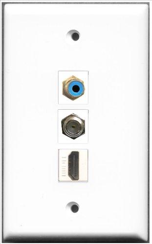 RiteAV-1Port HDMI und 1Port RCA blau und 1x Koax-Kabel, Accessoires F-Wanddose -