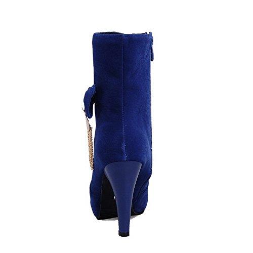 AgooLar Damen Hoher Absatz Eingelegt Rund Zehe Reißverschluss Stiefel mit Metallisch Blau