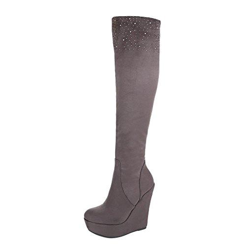 Keilstiefel Damenschuhe Plateau Keilabsatz/ Wedge Keilabsatz Reißverschluss Ital-Design Stiefel Grau