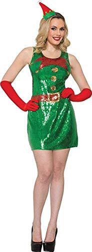 Onlyglobal Erwachsene Damen Paillette Elfen Kleid Santa's Helfer Weihnachten ausgefallen Party Kostüm - Grün, M/L (UK Size 10-14) (Für Erwachsene Santa's Grüne Helfer Weihnachten Kostüm)