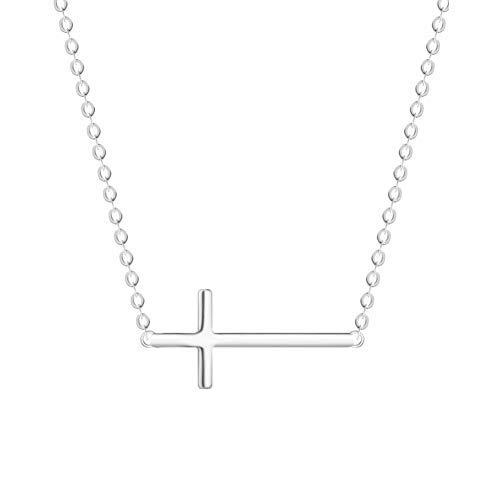 NASAMA Stainless Steel Sideways Cross Pendant Necklace Adjustable Jewelry for Women Girls