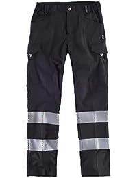 WorkTeam Pantalón Multibolsillos de Alta Visibilidad, con Cintas Reflectantes Discontinuas y Cintas Personalizadas, Trabajo