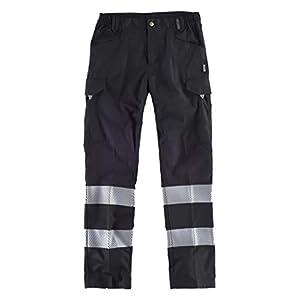 WorkTeam Pantalón Multibolsillos de Alta Visibilidad, con Cintas Reflectantes Discontinuas y Cintas Personalizadas, Trabajo. Unisex