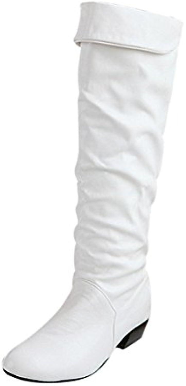Botas, SKY Botas altas de rodilla de invierno para mujer Botas altas de tacón alto de tubo plano
