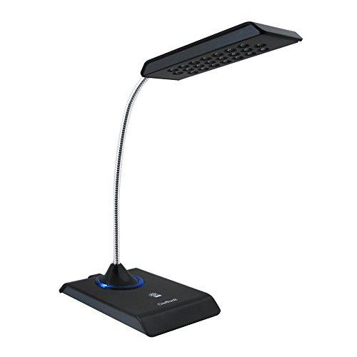 Daffodil LEC200 USB LED Lampe - USB Schreibtischlampe / Tastaturlampe / Leselicht / Leselampe - mit 12 superhellen LEDs - PC sowie MAC kompatibel - eingebauter Akku - keine Batterien notwendig (Schwarz)