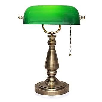Style ancien Banque lampe de table vert appui ombre de šŠlectrolytique en mšŠtal Avec Pullswitch