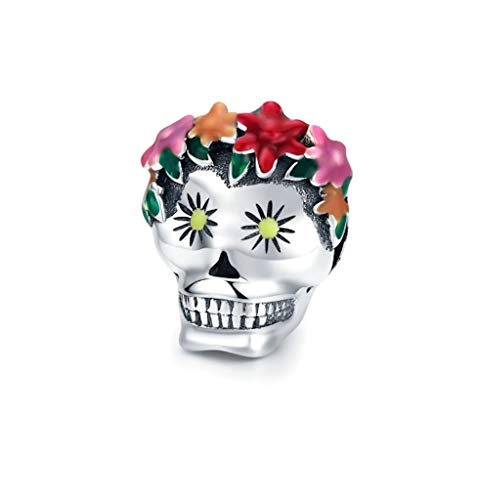 Abalorio Calavera Mexicana Frida Kahlo Plata