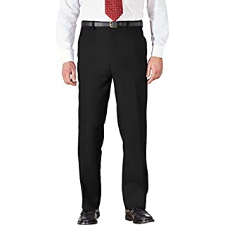 Atlantic Bay 2k18Aug Mens Trousers Cotton BHS Brand Work Formal Active Stretch Waist Pockets 32-46[Black,Waist 38 x Leg Short]