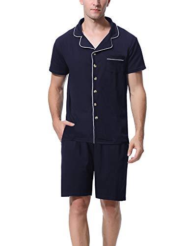 Aibrou Herren Baumwolle Pyjama Set, Einfarbiger Zweiteiliger Schlafanzug Kurzarm Shirt und Pyjamahose Marineblau XL - Baumwolle Gewebte Pyjama-set