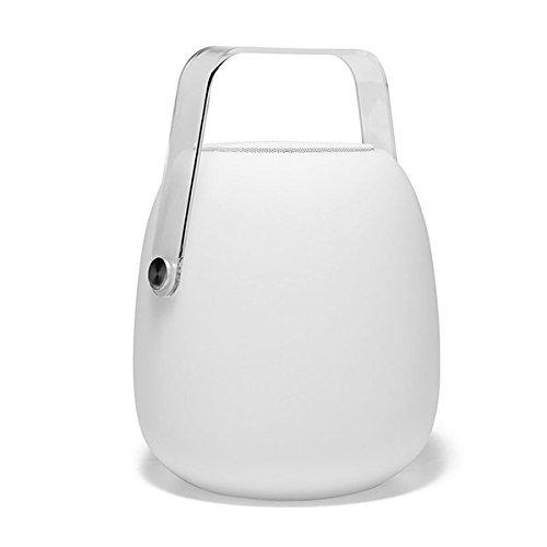 Lumisky Laterne für den Garten, kabellos, batteriebetrieben, mit Bluetooth-Lautsprecher, LED, RGB, 30 cm, Polyethylen, drehbar, weiß und transparent, 21 x 21 x 30 cm