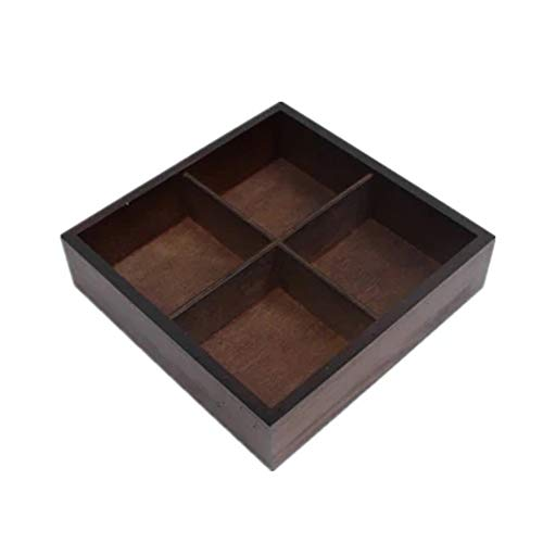 WOAINI AINIYF Kleine Holzschale Display 4Compartments 20x20 cm Fall Schatten Ebene Handwerk Schmuckstück Holz Sortierung Lagerung Regal Box Perfekt für Decoupage, Lagerung, Dekoration -