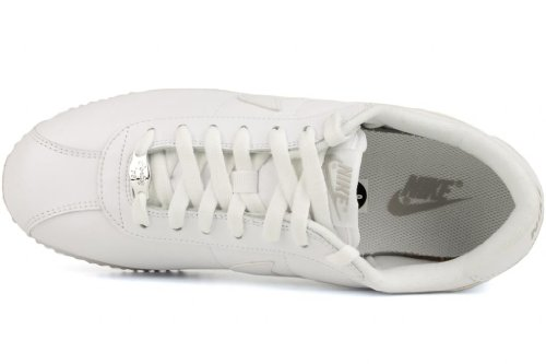 Nike Mens Cortez Basic Lether 06 Leather Trainers WHITE/WHITE/LIGHT ZEN GREY