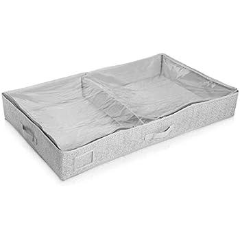 Pullover oder Bettw/äsche Navaris Aufbewahrungstasche Unterbettkommode Box mit Rei/ßverschluss Set mit 2 Taschen zur Aufbewahrung f/ür Kleider